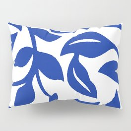 PALM LEAF VINE SWIRL BLUE AND WHITE PATTERN Pillow Sham