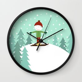Small skier Wall Clock