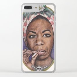 Watercolor Painting of Nina Simone Clear iPhone Case