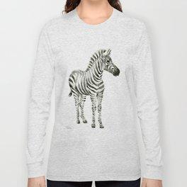 Zebra Watercolor Baby Animals Long Sleeve T-shirt