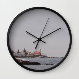 Lighthouse Winter Waterfront on Lake Superior Wall Clock
