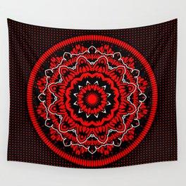 Mandala 009 Red White Black Wall Tapestry