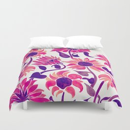 Sunflower Watercolor – Pink & Purple Palette Duvet Cover