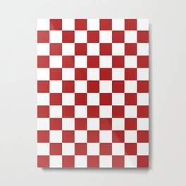 Checkered - White and Firebrick Red Metal Print