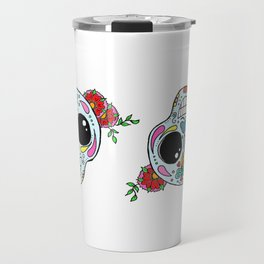 Sugar skull with flowers and bee Travel Mug