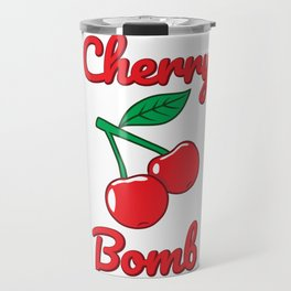 Cherry Bomb Retro Vintage Old Style design Travel Mug