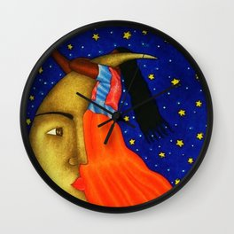 'Girl on the Moon with the Stars in her Hand' in the style of R. Morales (Artist Unknown) Wall Clock