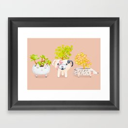 Kawaii dog cat hedgehog succulents Framed Art Print