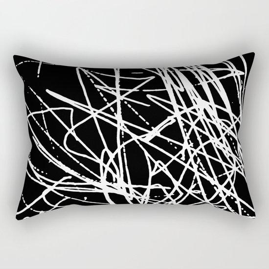 Daisy Scribble Black Rectangular Pillow