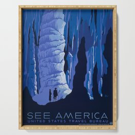 Carlsbad Caverns, New Mexico Travel and Tourism Poster, 1939 Serving Tray