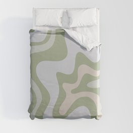 Liquid Swirl Contemporary Abstract Pattern in Light Sage Green Duvet Cover