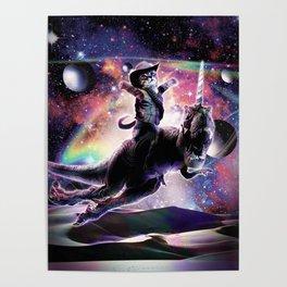 Galaxy Cat On Dinosaur Unicorn In Space Poster