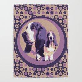 Basset Hound Dogs Pastel Purple Poster
