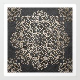 Mandala White Gold on Dark Gray Art Print