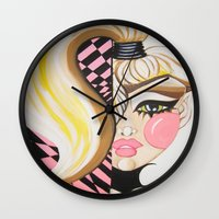 blondie Wall Clocks featuring Blondie by Artist Fran Doll