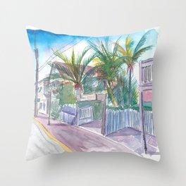 Blue Heaven Thomas St Patio Key West Florida Throw Pillow