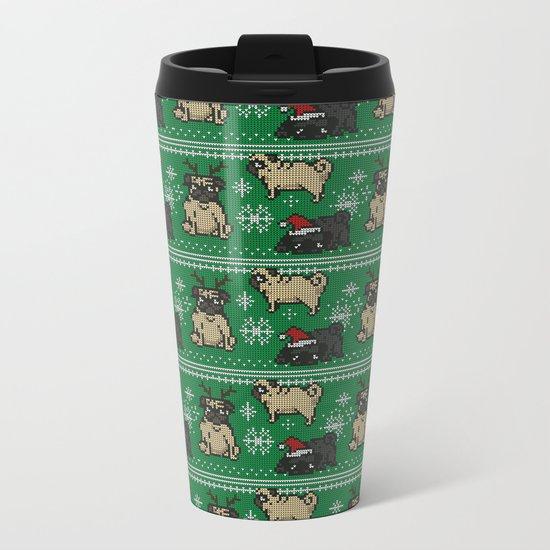CHRISTMAS PUG Metal Travel Mug