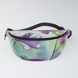 Sweet Pea Watercolour Painting Fanny Pack