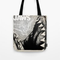 jaws Tote Bags featuring Jaws by Sinpiggyhead