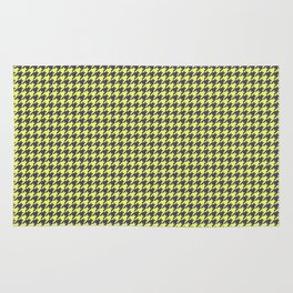 Yellow Grey Houndstooth Pattern Rug