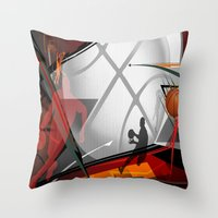 basketball Throw Pillows featuring Basketball by Robin Curtiss