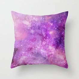 Watercolor Abstract Space and Star Background Throw Pillow