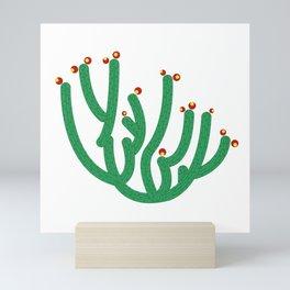 Saguaro bluming with fruits and flowers Mini Art Print