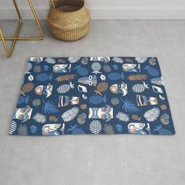 tiki masks blue seamless pattern Rug