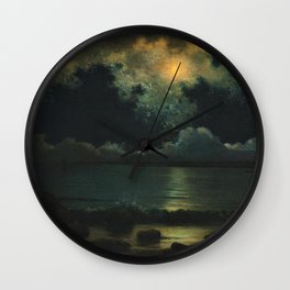 Point Judith, Rhode Island Night Scene, (c.1868) by Martin Johnson Heade Wall Clock