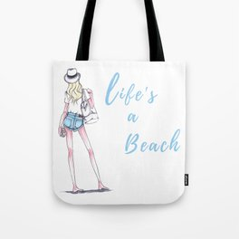 Life's A Beach Fashion Illustration Tote Bag