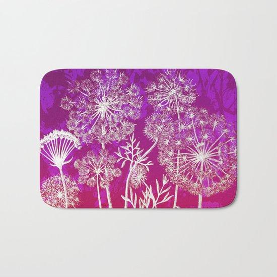 dandelions on purple and pink Bath Mat