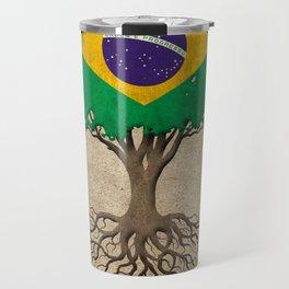 Vintage Tree of Life with Flag of Brazil Travel Mug