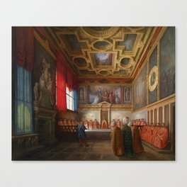 Giuseppe Bernardino Bison, The Doge of Venice Receives the Ottoman Embassy in the Sala del Collegio Canvas Print