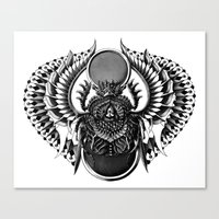 egyptian Canvas Prints featuring Egyptian Scarab by BIOWORKZ