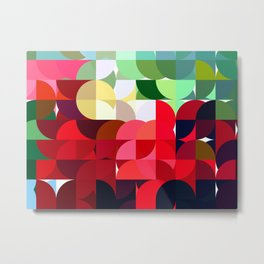 Mixed color Poinsettias 3 Abstract Circles 1 Metal Print