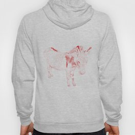 mini donkey drawing, red Hoody
