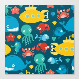 Submarine And Sea Creatures Pattern  Canvas Print