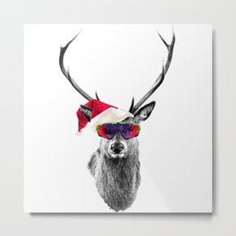Christmas Deer Crazy Style Metal Print