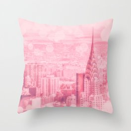 Pink and Bubbly New York City Throw Pillow