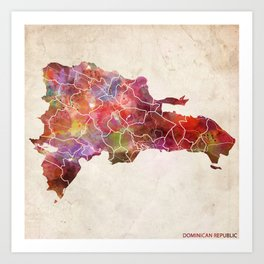 Dominican Republic map Art Print