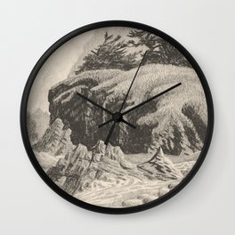 WILDERNESS SHORE VINTAGE CHARCOAL DRAWING Wall Clock