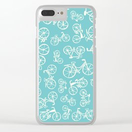 Bikes in a blue background Clear iPhone Case