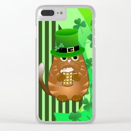 Sint Patrick's day cat with green top hat and drinking beer Clear iPhone Case