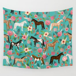Horses floral horse breeds farm animal pets Wall Tapestry