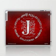 Joshua 24:15 - (Silver on Red) Monogram J Laptop & iPad Skin