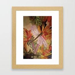 Dragonfly in the flowers Framed Art Print