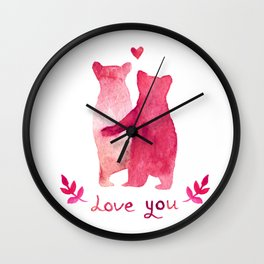 Love you Watercolor Wall Clock