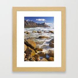 Rocky beach at Kogel Bay in South Africa Framed Art Print