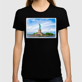 Landmark Statue Of Liberty On The Waters Of New York Harbor T-shirt