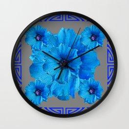 DECO BLUE HOLLYHOCKS PATTERN GREY ABSTRACT ART Wall Clock
